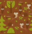 seamless pattern owl and hedgehog in forest vector image