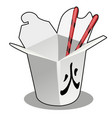 a cardboard box of eating and chopsticks isolated vector image