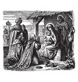 adoration of the magi - the wise men present vector image vector image