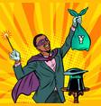 african magician with yen money vector image vector image