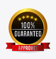 Approved label design vector image