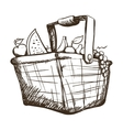 basket with fruits and vegetables icon image vector image