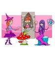 cartoon fantasy woman characters group vector image vector image