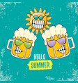 cartoon funky beer glass character and vector image