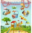 Children playground outdoor games in the park vector image vector image
