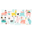 christmas set with cute llamas celebrating vector image vector image