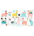 christmas set with cute llamas celebrating vector image