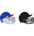 classic baseball helmet with face protection vector image vector image