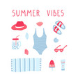 collection beauty beach little things summer vector image vector image