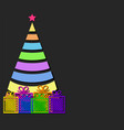color design christmas tree with strips and gift vector image vector image