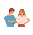 couple angry aggressive man and upset woman vector image vector image
