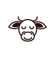 cute face cow animal cartoon icon thick line vector image