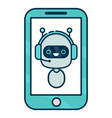 cute smiling robot chat bot say in smartphone vector image vector image