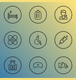 drug icons line style set with patch injection vector image