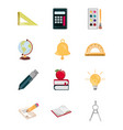 education supply study school stationery icons set vector image vector image