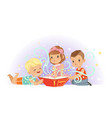 group of little kids boys and girl reading magic vector image vector image