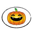 Halloween pumpkin orange cartoon stamp logo style vector image vector image