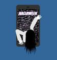 halloween witch zombie from smartphone zombie vector image vector image