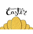 Handmade poster greetings and happy Easter with vector image