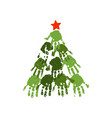 handprint christmas tree with red handdrawn star vector image vector image