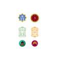 happy eid mubarak icon set vector image vector image