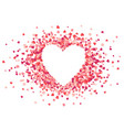 heart shape pink confetti splash with white vector image vector image