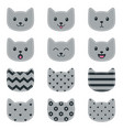 icons cat faces isolated on white vector image vector image