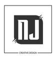 initial letter nj logo template design vector image
