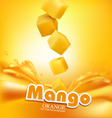 juicy mango slices falling into the fresh juice vector image vector image