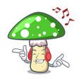 listening music green amanita mushroom mascot vector image