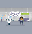 modern robot and business man brainstorming vector image vector image