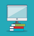 monitor computer with books icon vector image vector image