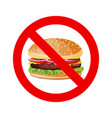 no hamburger allowed sign vector image