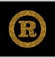 premium elegant capital letter r in a round frame vector image vector image