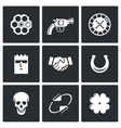 Russian roulette game icons vector image vector image