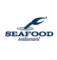 seafood restaurant with claw and fish vector image vector image