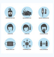 set corona virus symptoms and prevention icon vector image