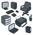 set of office accessories vector image