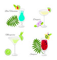 set of summer cocktails cartoon style vector image
