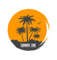 silhouette of palms in sunset vector image vector image