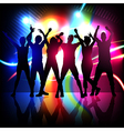 silhouettes of party people dancing vector image vector image