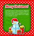 snowman christmas postcard vector image vector image