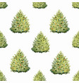 watercolor fir tree christmas pattern vector image vector image