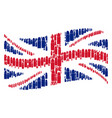 waving british flag mosaic of ammo bullet items vector image vector image