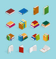books isometric icons set vector image