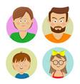 happy family faces flat avatars vector image