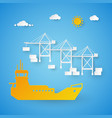 cargo ship loading in shipping port harbor dock vector image