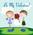Cartoon Valentine card with girl and boy vector image