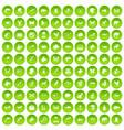 100 animals icons set green circle vector image vector image