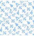 airplane seamless pattern with thin line icons vector image